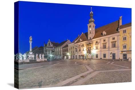 Slovenia, Maribor, Maribor Town Hall Square at Dawn-Rob Tilley-Stretched Canvas Print