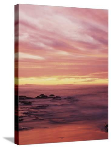 California, San Diego, Sunset Cliffs, Sunset over the Ocean with Waves-Christopher Talbot Frank-Stretched Canvas Print