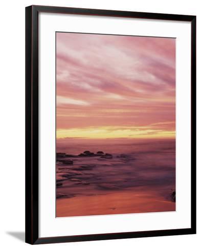 California, San Diego, Sunset Cliffs, Sunset over the Ocean with Waves-Christopher Talbot Frank-Framed Art Print