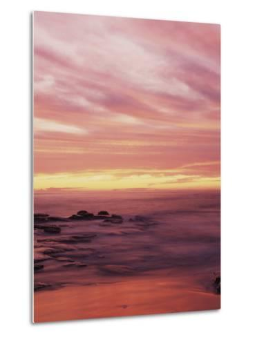 California, San Diego, Sunset Cliffs, Sunset over the Ocean with Waves-Christopher Talbot Frank-Metal Print