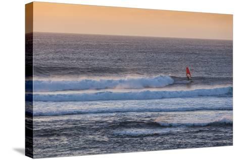 Southwest Australia, Prevelly, Surfers Point, Windsurfers, Dusk-Walter Bibikow-Stretched Canvas Print