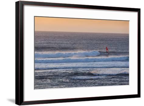 Southwest Australia, Prevelly, Surfers Point, Windsurfers, Dusk-Walter Bibikow-Framed Art Print
