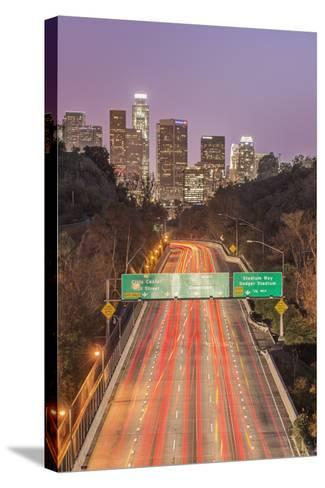 USA, California, Los Angeles 110 Freeway and Downtown-Rob Tilley-Stretched Canvas Print