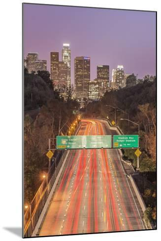 USA, California, Los Angeles 110 Freeway and Downtown-Rob Tilley-Mounted Photographic Print