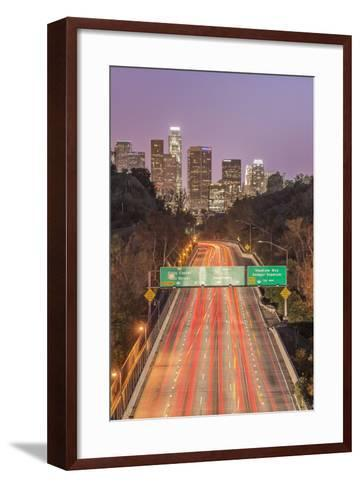 USA, California, Los Angeles 110 Freeway and Downtown-Rob Tilley-Framed Art Print