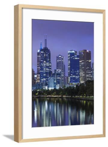 Australia, Victoria, Melbourne, Skyline Along Yarra River, Dawn-Walter Bibikow-Framed Art Print