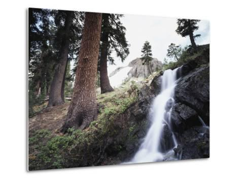 California, Sierra Nevada, Yosemite National Park, Waterfall from the Forest-Christopher Talbot Frank-Metal Print