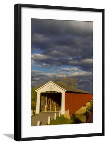 Covered Bridge over the East Fork of the White River, Medora, Indiana-Chuck Haney-Framed Art Print