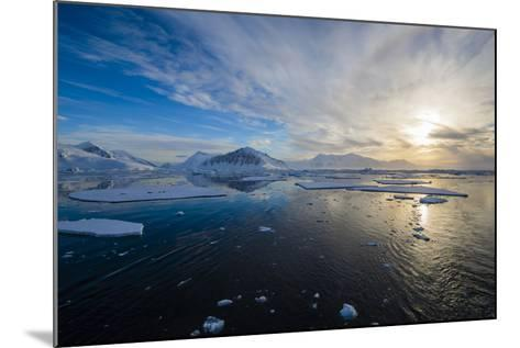 Antarctica. Near Adelaide Island. the Gullet. Ice Floes at Sunset-Inger Hogstrom-Mounted Photographic Print