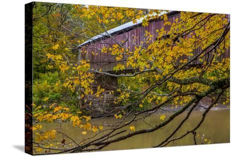 Cox Ford Covered Bridge over Sugar Creek in Parke County, Indiana-Chuck Haney-Stretched Canvas Print