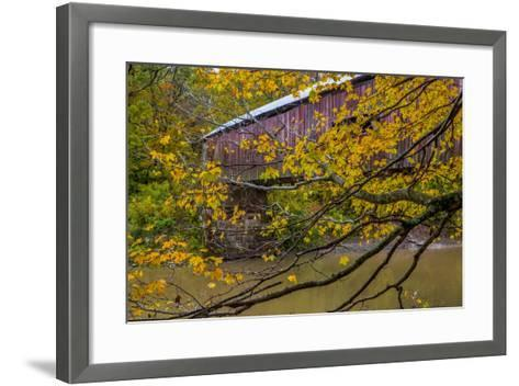 Cox Ford Covered Bridge over Sugar Creek in Parke County, Indiana-Chuck Haney-Framed Art Print