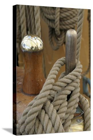 Canada, B.C, Victoria. Rigging Rope around a Peg on the Uscg Eagle-Kevin Oke-Stretched Canvas Print