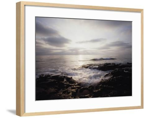 California, San Diego, Sunset Cliffs, a Wave Crashes on a Tide Pool-Christopher Talbot Frank-Framed Art Print