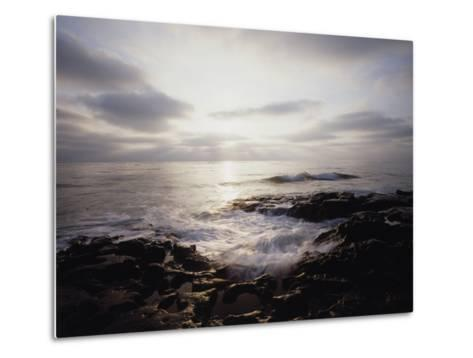 California, San Diego, Sunset Cliffs, a Wave Crashes on a Tide Pool-Christopher Talbot Frank-Metal Print