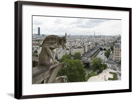 Europe, France, Paris. a Gargoyle on the Notre Dame Cathedral-Charles Sleicher-Framed Art Print