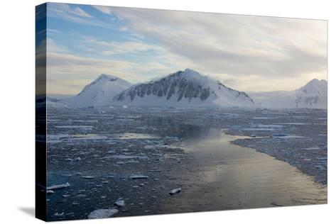 Antarctica, Adelaide Island. the Gullet. Ships Path Through Brash Ice-Inger Hogstrom-Stretched Canvas Print