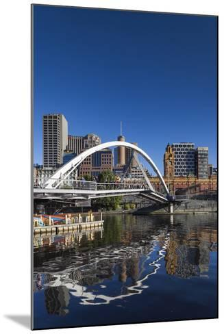Australia, Victoria, Melbourne, Yarra River Footbridge and Skyline-Walter Bibikow-Mounted Photographic Print