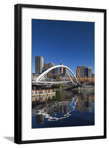 Australia, Victoria, Melbourne, Yarra River Footbridge and Skyline-Walter Bibikow-Framed Art Print