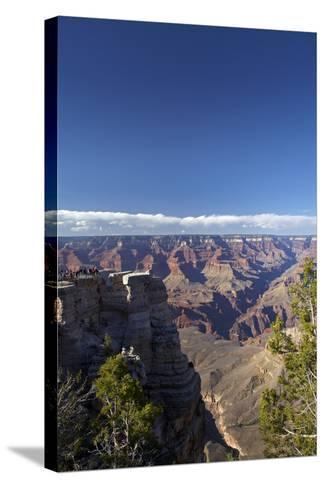 Arizona, Grand Canyon National Park, Grand Canyon and Tourists at Mather Point-David Wall-Stretched Canvas Print