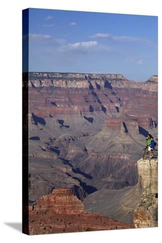 Arizona, Grand Canyon National Park, Grand Canyon and Tourists at Mather Point-David Wall-Stretched Canvas Print