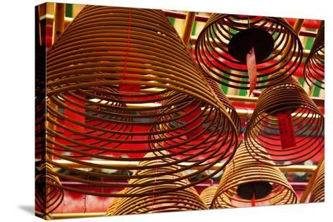 China, Hong Kong, Spiral Incense Sticks at Man Mo Temple-Terry Eggers-Stretched Canvas Print