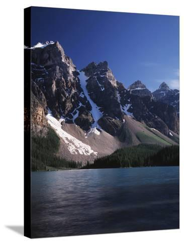 Banff National Park, Mountain Peaks and the Glacial Water of Moraine Lake-Christopher Talbot Frank-Stretched Canvas Print