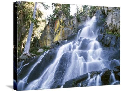 California, Sierra Nevada Mountains. a Waterfall and Rocks-Christopher Talbot Frank-Stretched Canvas Print