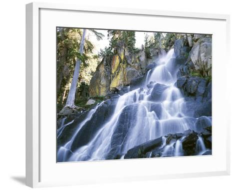 California, Sierra Nevada Mountains. a Waterfall and Rocks-Christopher Talbot Frank-Framed Art Print