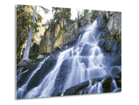 California, Sierra Nevada Mountains. a Waterfall and Rocks-Christopher Talbot Frank-Metal Print