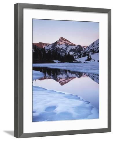 California, Sierra Nevada Mts, Dana Peak Reflecting in a Frozen Lake-Christopher Talbot Frank-Framed Art Print
