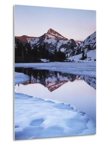 California, Sierra Nevada Mts, Dana Peak Reflecting in a Frozen Lake-Christopher Talbot Frank-Metal Print