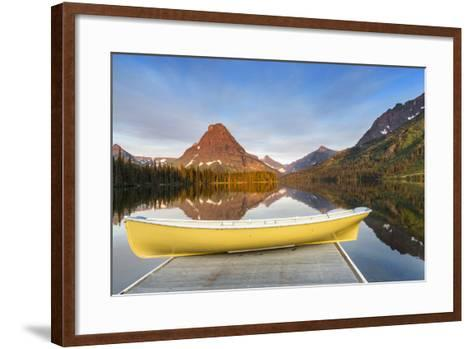 Boat on Calm Morning at Two Medicine Lake in Glacier National Park, Montana-Chuck Haney-Framed Art Print