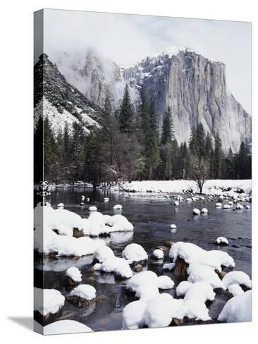 California, Sierra Nevada, Yosemite National Park, Snow on El Capitan-Christopher Talbot Frank-Stretched Canvas Print