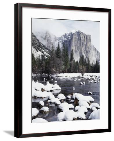 California, Sierra Nevada, Yosemite National Park, Snow on El Capitan-Christopher Talbot Frank-Framed Art Print