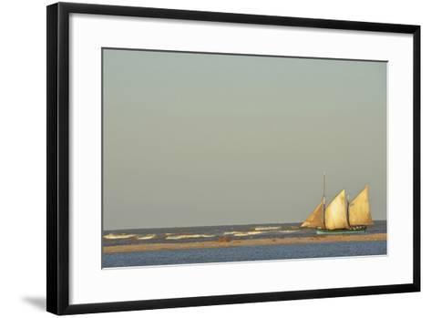 Madagascar, Morondava, Fisherman Boat with Large White Sails at Sea-Anthony Asael-Framed Art Print