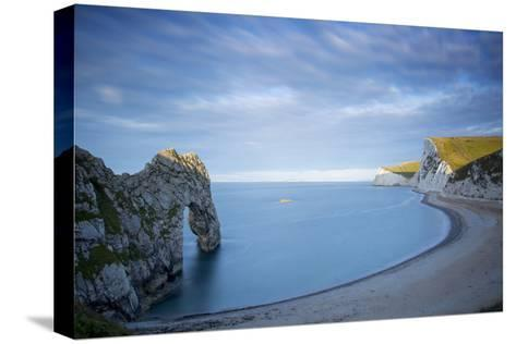 Sunrise over Durdle Door and the Jurassic Coast, Dorset, England-Brian Jannsen-Stretched Canvas Print