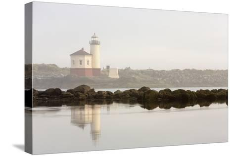 Coquille River Lighthouse in Morning Fog in Bandon, Oregon, USA-Chuck Haney-Stretched Canvas Print