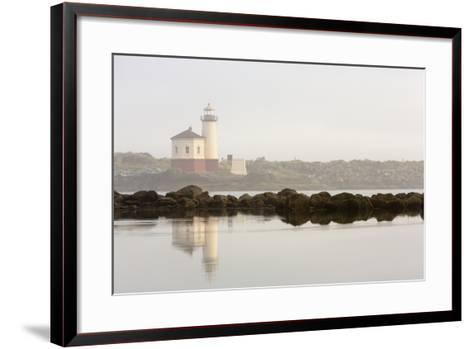 Coquille River Lighthouse in Morning Fog in Bandon, Oregon, USA-Chuck Haney-Framed Art Print