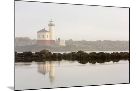 Coquille River Lighthouse in Morning Fog in Bandon, Oregon, USA-Chuck Haney-Mounted Photographic Print