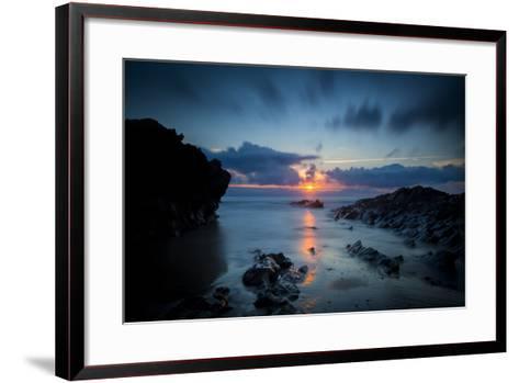 Sunset over the Rocks,Cornish Coast Near Newquay, Cornwall, England-Brian Jannsen-Framed Art Print