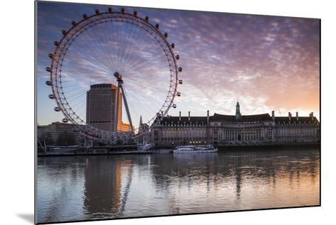 England, London, London Eye, Sunrise-Walter Bibikow-Mounted Photographic Print