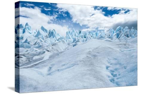 Detail of Perito Moreno Glacier with Clouds, Patagonia, Argentina-James White-Stretched Canvas Print