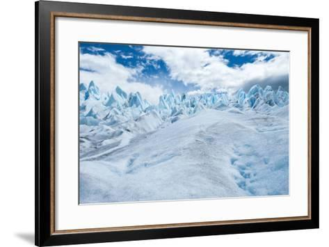 Detail of Perito Moreno Glacier with Clouds, Patagonia, Argentina-James White-Framed Art Print