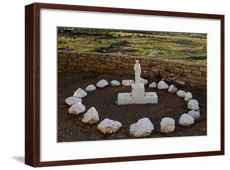 New Mexico. Statue of St Francis Outside Mission San Jose De La Laguna-Luc Novovitch-Framed Art Print
