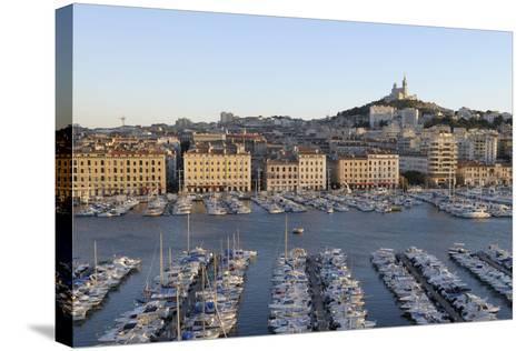 France, Marseille. Vieux Port with Basilique Notre Dame De La Garde-Kevin Oke-Stretched Canvas Print