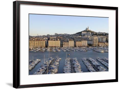 France, Marseille. Vieux Port with Basilique Notre Dame De La Garde-Kevin Oke-Framed Art Print