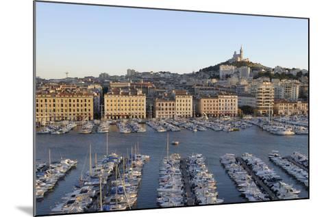 France, Marseille. Vieux Port with Basilique Notre Dame De La Garde-Kevin Oke-Mounted Photographic Print
