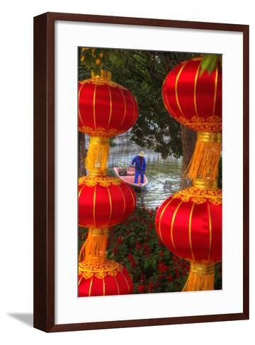 Worker in Boat Cleaning Green Lake, Kunming China-Darrell Gulin-Framed Art Print