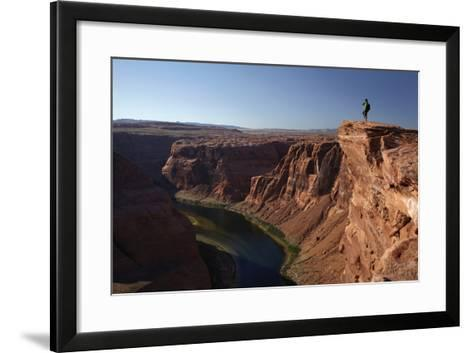 Arizona, Tourists at Overlook to the Colorado River at Horseshoe Bend-David Wall-Framed Art Print