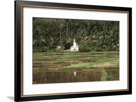 Asia, Indonesia, Sulawesi, View of Church and Field-Tony Berg-Framed Art Print
